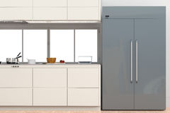 Fridge with side by side doors in kitchen. 3d rendering fridge with side by side doors in kitchen Royalty Free Stock Photography