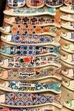 Fridge souvenir magnets imitating portuguese sardines. For sale royalty free stock image