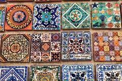 Fridge souvenir magnets imitating portuguese tiles. For sale stock image