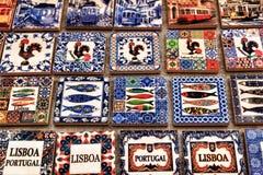 Fridge souvenir magnets imitating portuguese tiles. For sale royalty free stock images