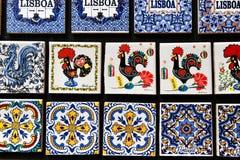 Fridge souvenir magnets imitating portuguese tiles. For sale retro artistic colorful craft decorative design lisbon vintage mosaic antique hand-painted detail royalty free stock photo