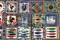 Fridge souvenir magnets imitating portuguese tiles. For sale royalty free stock photography