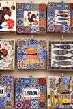 Fridge souvenir magnets imitating portuguese tiles. For sale retro artistic colorful craft decorative design lisbon vintage mosaic antique hand-painted detail royalty free stock image