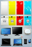 Fridge, Washing Machine, TV, Laptop and Mobile Vectors. Different Type of Home Appliances and Electronic Gadgets Like Monitor and Smartphones Vector Set Royalty Free Stock Image
