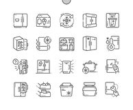Fridge Well-crafted Pixel Perfect Vector Thin Line Icons 30 2x Grid for Web Graphics and Apps. Simple Minimal Pictogram Royalty Free Stock Photography