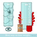 Fridge wraped by chain and locked. frigde mined by dynamite. Best way to lose weight  Stock Photography