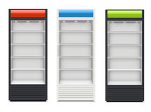 Fridges with glazed door on white background Stock Photo