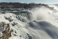 Fridgid American Niagara Fall in winter with glacier formations Royalty Free Stock Photos