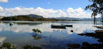 Fridsam bred flodmynning för Mauritius South kust Royaltyfri Foto