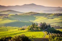 Fridsam morgon i Tuscany Royaltyfri Foto
