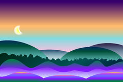 Fridsam och färgrik nattlandskapbakgrund Arkivbild