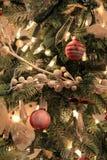 Fridsam plats av av julgranen och varma ljus Arkivfoton