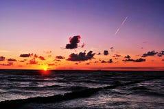 fridsam solnedgång Royaltyfria Bilder