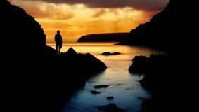 fridsam solnedgång för hav Royaltyfri Foto