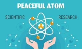 Fridsamt atombegreppsbaner, plan stil royaltyfri illustrationer