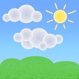 Fridsamt land med moln och solen Optimistiskt sommarlandskap med texturer stock illustrationer