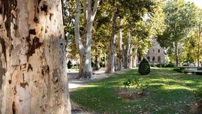 Fridsamt parkera främst av den kroatiska akademin av vetenskaper och konster i Zagreb royaltyfria foton