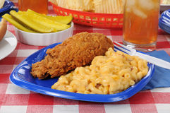 Friec chicken with macaroni and cheese Stock Image