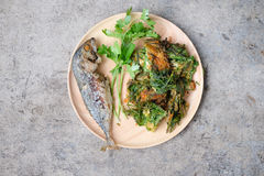 Fried Acacia Pennata with egg and fried mackerel Royalty Free Stock Image
