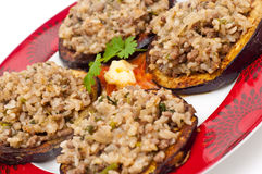 Fried aggplant toppet with a mix of mince and rice Royalty Free Stock Photography