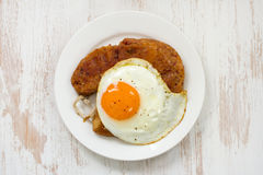 Fried alheira with egg Royalty Free Stock Photo