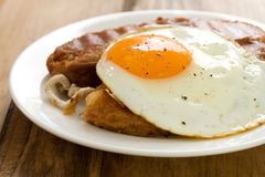 Fried alheira with egg stock images