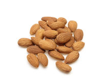 Fried almonds in a white background Royalty Free Stock Photos