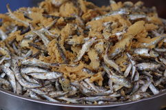 Fried anchovies. Close up of fried anchovies with polenta royalty free stock photos