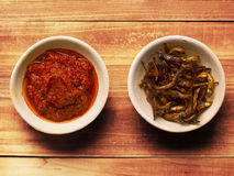 Fried anchovies and sambal chili Stock Images