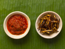 Fried anchovies and sambal chili Stock Photos