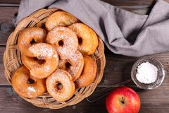 Fried apple cake. On wood background Royalty Free Stock Photography