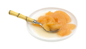 Fried Apples On Dish With Spoon Side Royalty Free Stock Photography