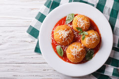 Fried arancini rice balls with tomato sauce. horizontal top view Stock Image