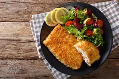 Fried Arctic char fish fillet in breadcrumbs and fresh vegetable Stock Images