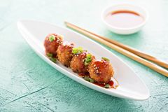 Fried asian appetizers. With sesame and green onions royalty free stock image