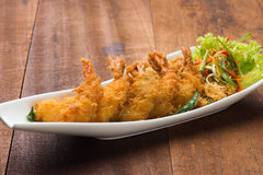 Fried asian style butter prawn royalty free stock photo