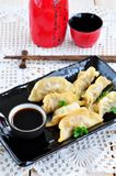 Fried asian wonton with soy sauce Royalty Free Stock Photo