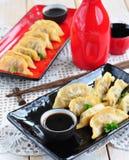 Fried asian wonton with soy sauce Stock Photos