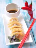 Fried asian wonton with soy sauce Royalty Free Stock Photos