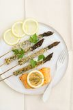 Fried asparagus skewers Royalty Free Stock Images