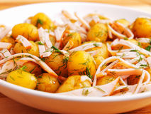 Fried baby potatoes with bacon Stock Photos