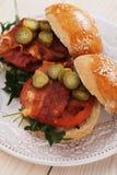 Fried bacon burger Royalty Free Stock Image