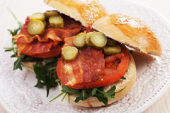 Fried bacon burger Stock Images