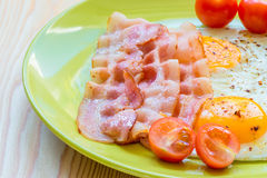 Fried bacon and eggs Royalty Free Stock Photography