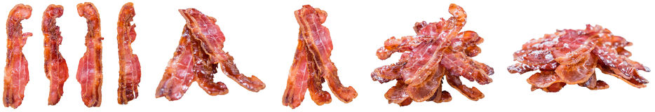 Fried Bacon ha isolato su bianco fotografie stock