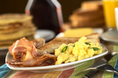 Fried Bacon and Scrambled Eggs Stock Images