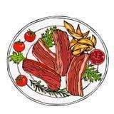 Fried Bacon Slices d'un plat avec des cales, des tomates et des herbes de pomme de terre Coupe rôtie de porc Le dîner de mariage  Photos libres de droits