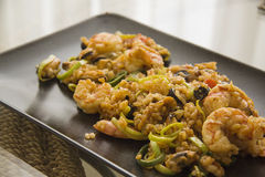 Fried bali shrimps with rice Royalty Free Stock Photo