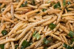 Fried bamboo larvae Royalty Free Stock Image