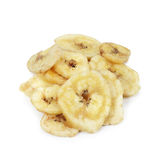 Fried banana chips. Fried banana chips isolated on white Royalty Free Stock Images
